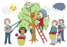Glücklich und 66 Bäume gepflegt
